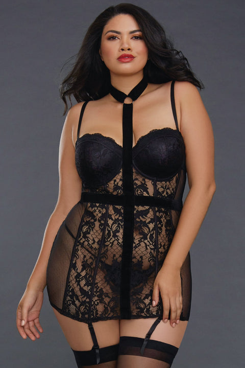 Plus Size Lace and Point D'esprit Garter Slip
