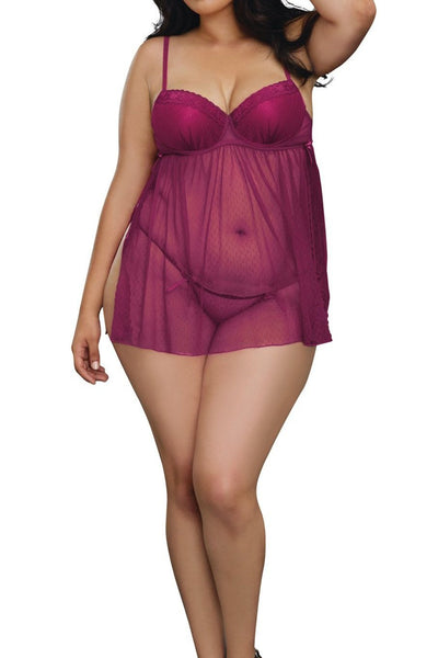 Plus Size Dot Mesh Babydoll with Lace Trims and G-String Set