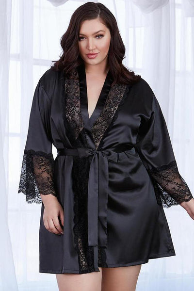 Plus Size Satin Charmeuse Robe with Lace Trim Details