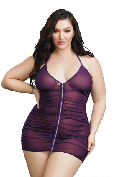 Plus Size Stretch Mesh Chemise with Shirring Details