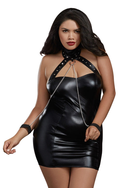 Plus Size Leather-Look Knit Collared Chemise with Restraints
