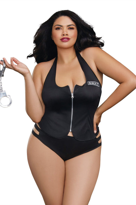 Plus Size Knit Zip Vest with SWAT Patch and Cheeky Panty Set