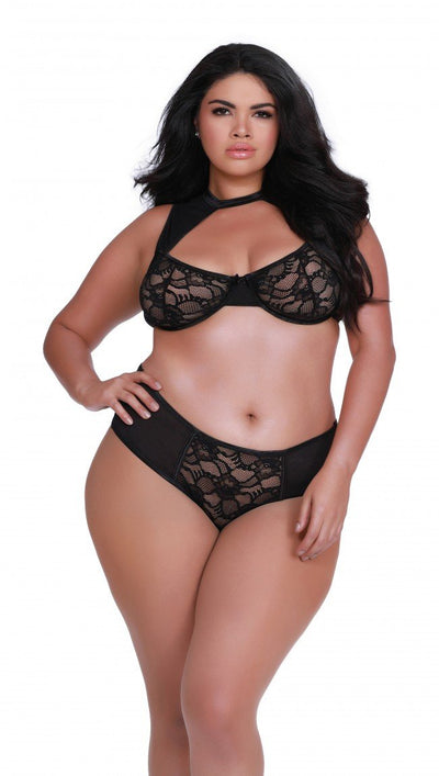 Plus Size Stretch Lace and Mesh High Neck Bralette Panty