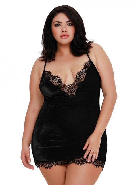 Plus Size Stretch Velvet Chemise With Fringed Eyelash Lace Neckline