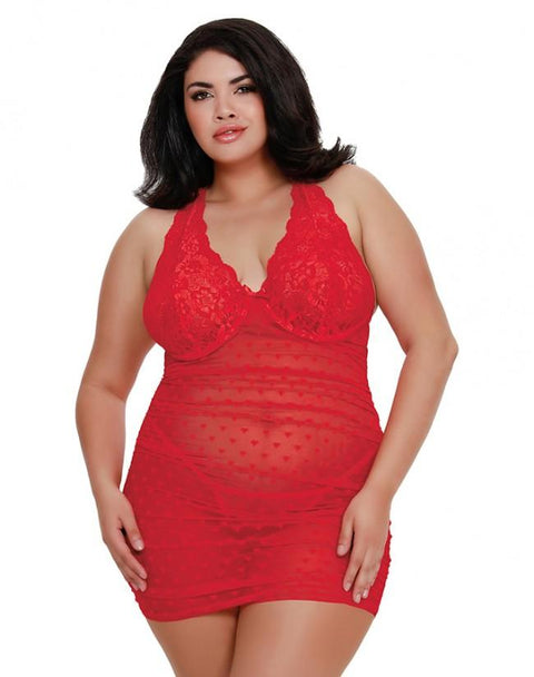 Plus Size Two Piece Stretch Ruched Chemise and G-String Set