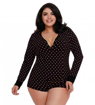 Plus Size Heart Print Henley Style Short Romper Pajama