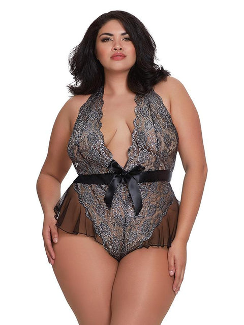 Plus Size Metallic Print Teddy