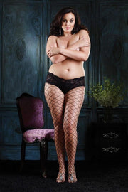 Diamond Net Tights With Sexy Lace Boy Short Top