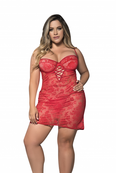 Plus Size Sheer Lace Babydoll with Matching G-String