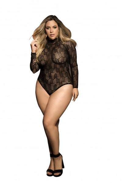 Plus Size Mesh Long Sleeved Bodysuit