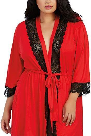 Plus Size Soft Spandex Jersey Robe with Lace Inserts