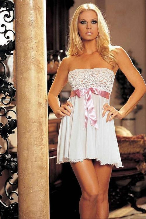 Tie-Front Stretch Lace And Mesh Babydoll (White/Pink)