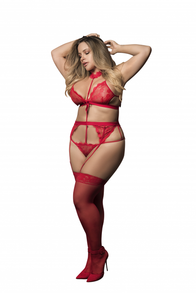 Plus Size Harness Teddy with Garters