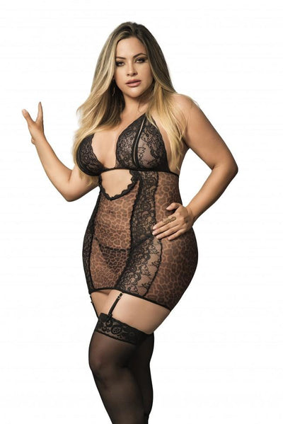 Plus Size Animal Print Babydoll with Garter Straps