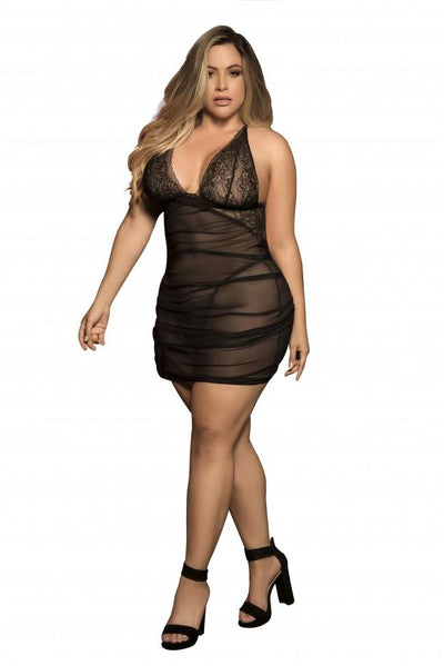 Plus Size Shirring Mesh Babydoll with Matching G-String