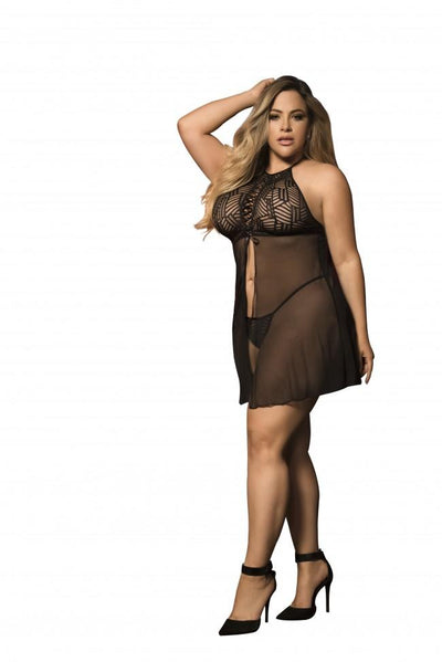 Plus Size Empire Cut Mesh Babydoll with Matching G-String