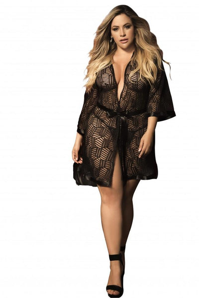 Plus Size Textured Mesh Robe with Matching G-String
