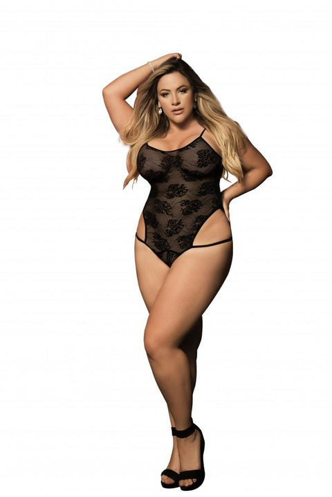 Plus Size Whisper-Light Floral Lace Teddy