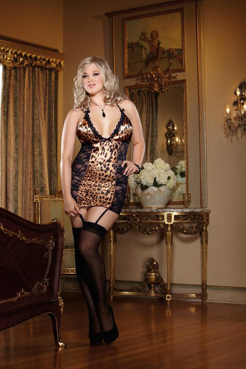 Leopard Print Satin And Stretch Lace Halter Garter Slip  | BigSmalls™