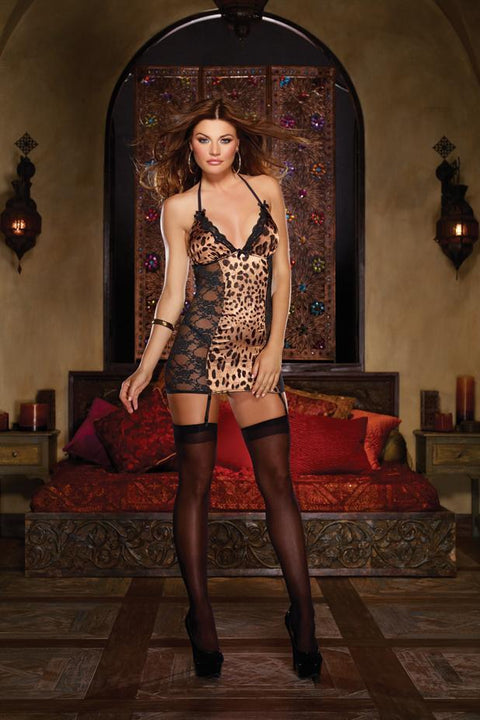 Leopard Print Satin And Stretch Lace Halter Garter Slip
