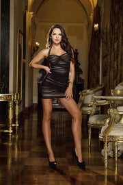 (Black 3X/4X) Halter Illusion Dress With Sheer Stretch Mesh