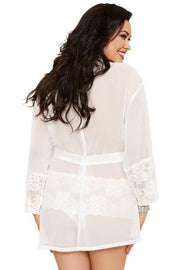 (3X/4X) Stretch Lace 3/4 Sleeve Kimono with Matching Panty