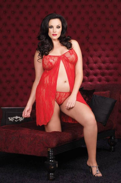 Open-Front Babydoll With G-String  | BigSmalls™