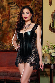 Black Faux leather and venice lace corset with matching thong   | BigSmalls™