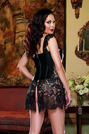 (Black 44) Faux Leather and Venice Lace Corset with Matching Thong
