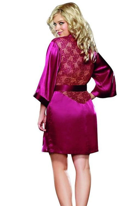 Charmeuse Robe with Lace Back Panel