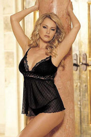 Snowflake Pattered Mesh And Stretch Lace Babydoll