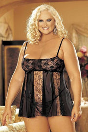 Stretch Lace And Sheer Net Babydoll With Lace Panels (Black)