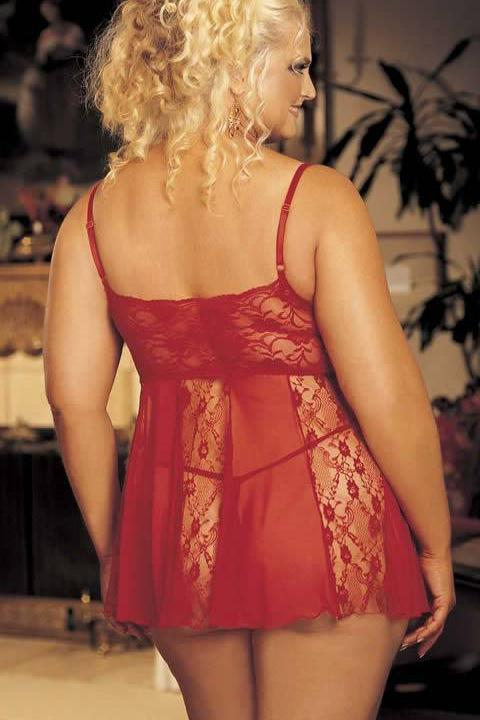 Stretch Lace And Sheer Net Babydoll With Lace Panels (Red)