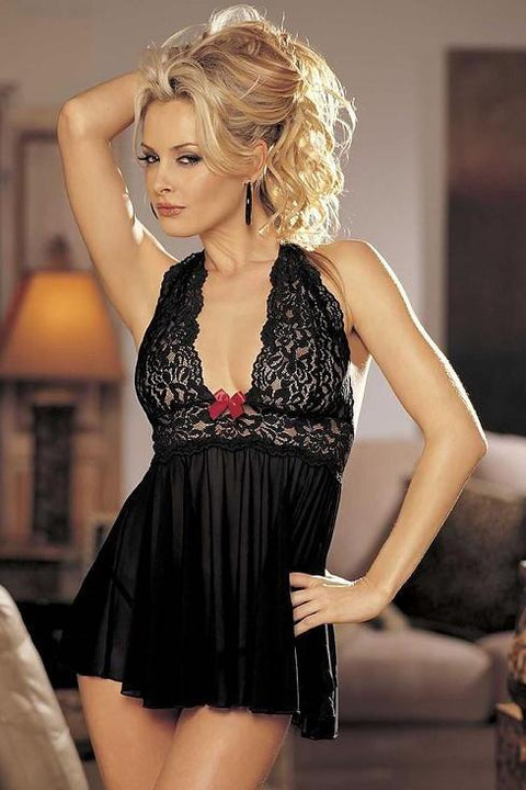 Stretch Mesh And Lace Babydoll With Bow (Black)