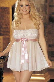 Tie-Front Stretch Lace And Mesh Babydoll (White/Pink)  | BigSmalls™