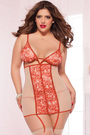 Tattoo rose print Chemise set    | BigSmalls™