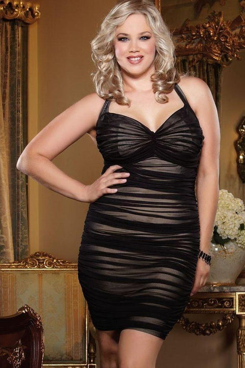 Halter Illusion Dress With Sheer Stretch Mesh  | BigSmalls™