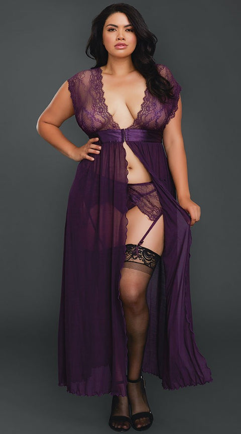 Plunging Sheer Lace Gown, Garter Belt and G-String