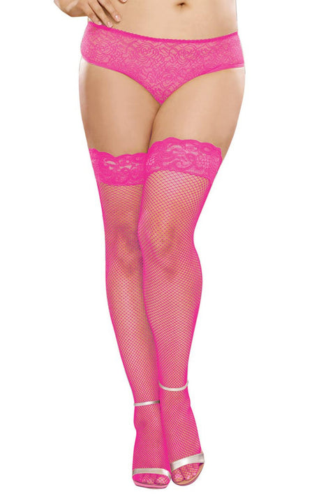 Plus Size Fishnet Hold Ups - Silicone Topped (Hot Pink)