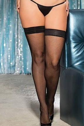 Fishnet Stay Up Stockings with metal studded back seam.   | BigSmalls™