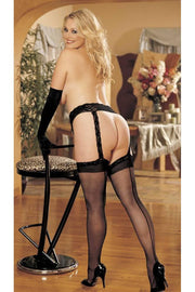 Lace Garterbelt And Backseam Stockings Set    | BigSmalls™