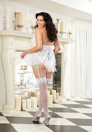 Stretch lace babydoll with garter strap ruffle panty.