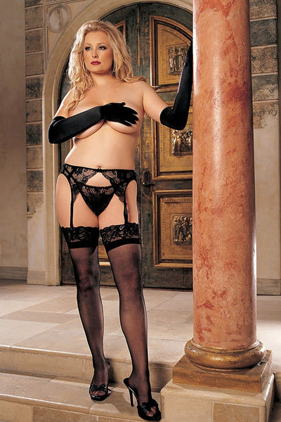 Lace Top Stay-Up Stockings With Back Seam  | BigSmalls™
