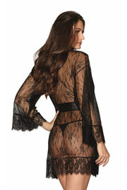 Lace Kimono Robe with Wide Sleeves