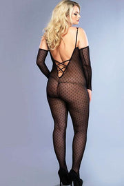 Daisy Lace Bodystocking With Attached Sleeves