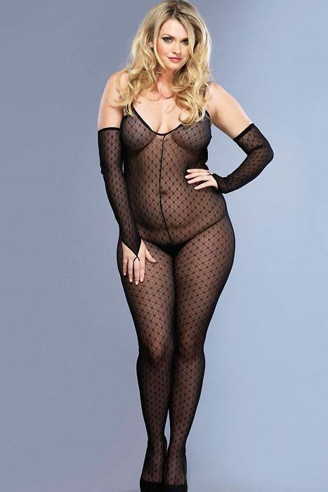 Daisy Lace Bodystocking With Attached Sleeves  | BigSmalls™