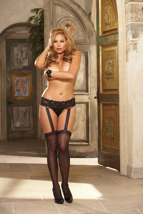 Lace Garter Belt with Stockings (Black)