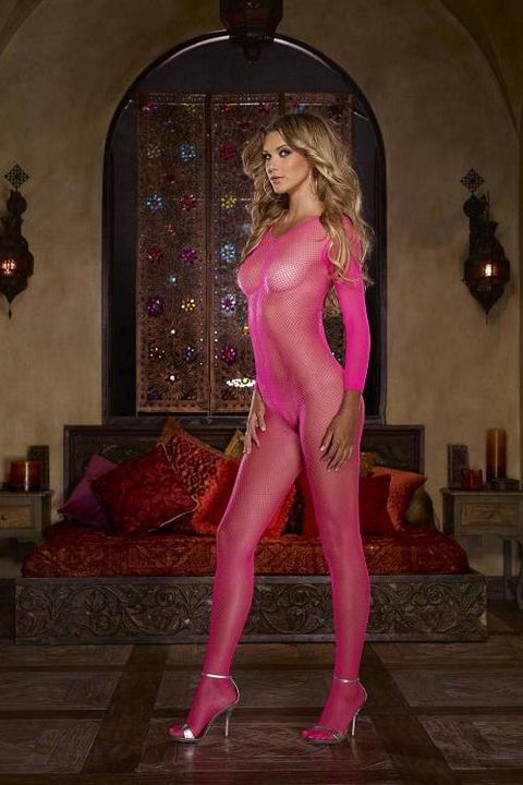 Fishnet Bodystocking (Neon Pink)