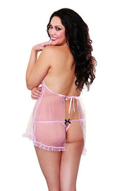 mesh flyaway babydoll, with matching thong.