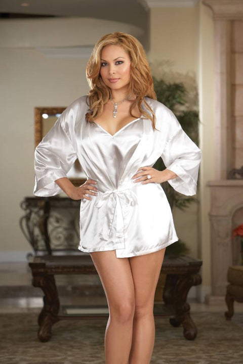 Silky Babydoll With Robe (White)  | BigSmalls™